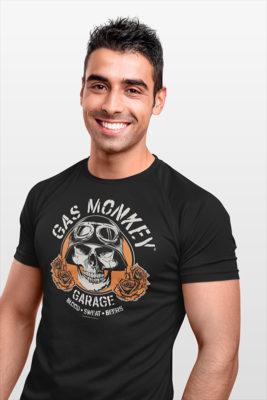 T-shirt Gaz Monkey Garage noir avec Tête de mort