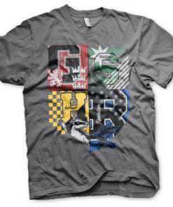 T-Shirt Harry Potter Dorm Crest de couleur Gris Foncé