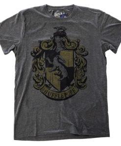 T Shirt Harry Potter Hufflepuff Dyed de couleur Gris Sombre