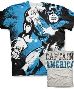 T-Shirt imprimé Captain America Allover de couleur