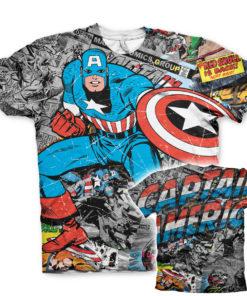 T-Shirt imprimé Captain America Comic Allover de couleur