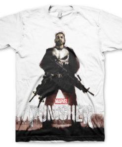 T-Shirt imprimé Marvel's The Punisher Allover de couleur Blanc