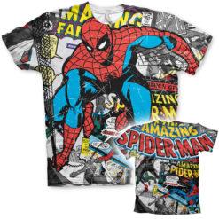 T-Shirt imprimé Spider-Man Comic Allover de couleur