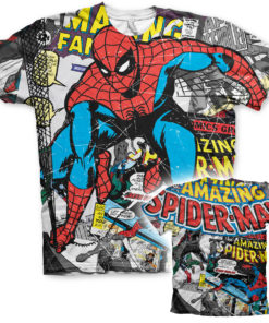T-Shirt imprimé Spider-Man Comic Allover de couleur