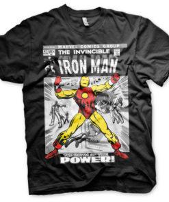 T-shirt Iron Man Cover grandes Tailles de couleur Noir