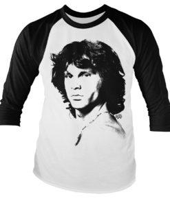 T-Shirt Jim Morrison Portrait Baseball de couleur Blanc/Noir
