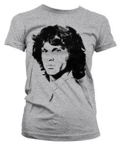 T-Shirt Jim Morrison Portrait pour Femme de couleur Gris Chiné