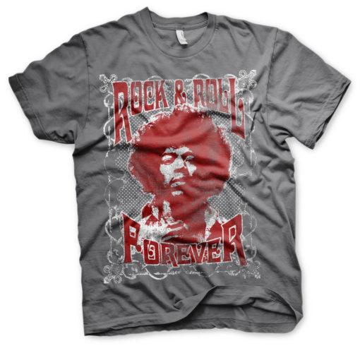 T-Shirt Jimi Hendrix - Rock 'n Roll Forever de couleur Gris Foncé