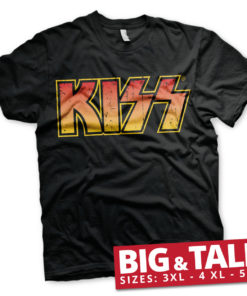 T-shirt KISS Logotype grandes Tailles de couleur Noir