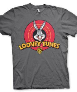 T-Shirt Looney Tunes Logo de couleur Gris Foncé