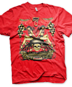 T-shirt Lucky 7 Hot Rod Ladies grandes Tailles de couleur Rouge