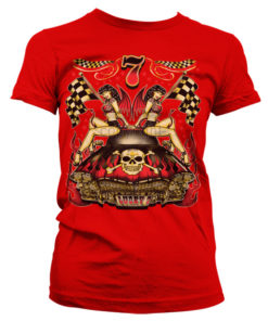 T-Shirt Lucky 7 Hot Rod Ladies pour Femme de couleur Rouge
