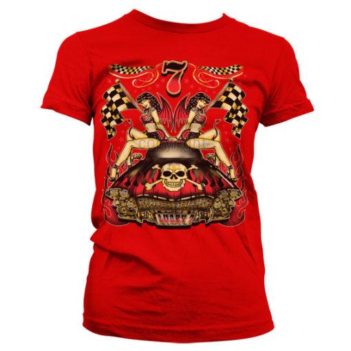 T-Shirt Lucky 7 Hot Rod Ladies pour Femme de couleur Rouge