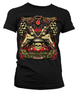 T-Shirt Lucky 7 Hot Rod Ladies pour Femme de couleur Noir