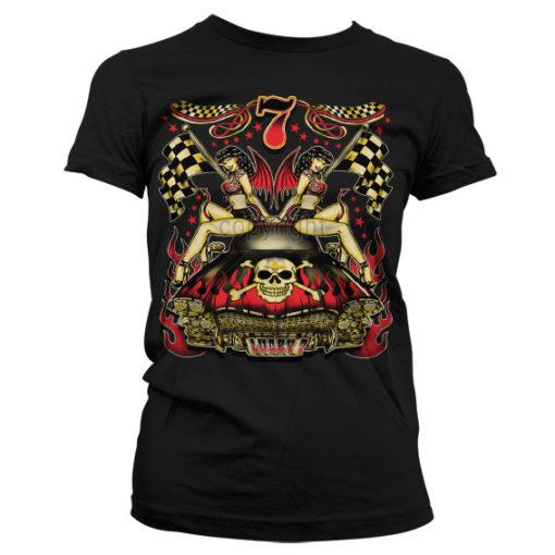 T-Shirt Lucky 7 Hot Rod Ladies pour Femme de couleur Noir