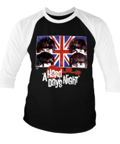T-shirt manches 3/4 A Hard Days Night de couleur Blanc/Noir