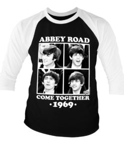T-shirt manches 3/4 Abbey Road - Come Together de couleur Blanc/Noir