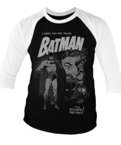 T-shirt manches 3/4 Batman - Return Of Two-Face de couleur Blanc/Noir