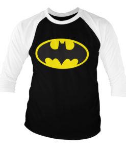 T-shirt manches 3/4 Batman Signal Logo de couleur Blanc/Noir