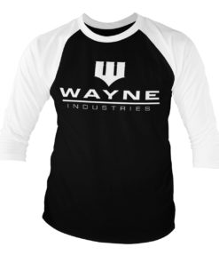 T-shirt manches 3/4 Batman - Wayne Industries Logo de couleur Blanc/Noir