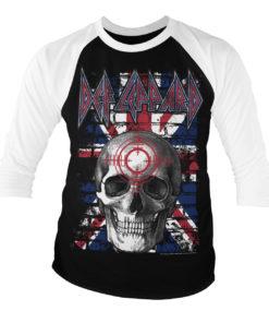 T-shirt manches 3/4 Def Leppard Union Jack Skull de couleur