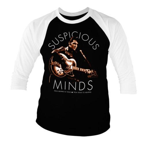 T-shirt manches 3/4 Elvis Presley - Suspicious Minds de couleur Blanc/Noir