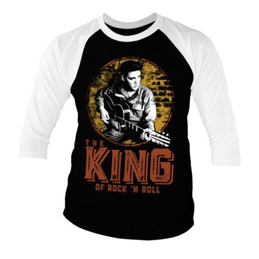 T-shirt manches 3/4 Elvis Presley - The King Of Rock 'n Roll de couleur Blanc/Noir