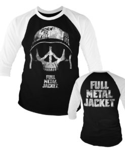 T-shirt manches 3/4 Full Metal Jacket - Skull de couleur Blanc/Noir