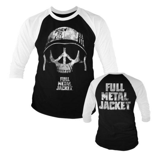 T-shirt manches 3/4 Full Metal Jacket - Skull de couleur Blanc/Noir