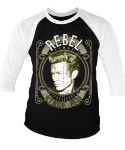 T-shirt manches 3/4 James Dean - Rebel Since 1931 de couleur Blanc/Noir