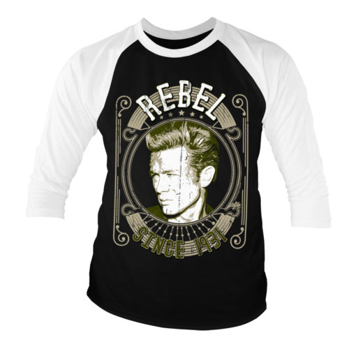 T-shirt manches 3/4 James Dean - Rebel Since 1931 de couleur Blanc/Noir