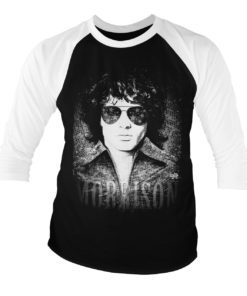 T-shirt manches 3/4 Jim Morrison - America de couleur Blanc/Noir