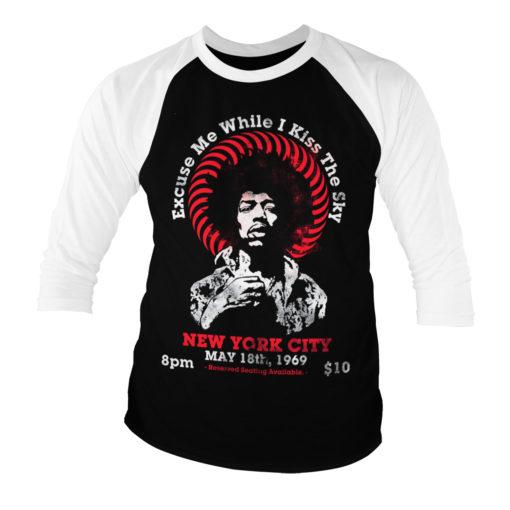 T-shirt manches 3/4 Jimi Hendrix - Live In New York de couleur Blanc/Noir