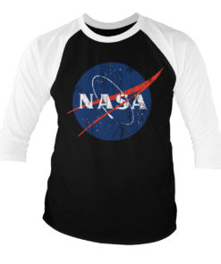 T-shirt manches 3/4 NASA Washed Insignia de couleur Blanc/Noir
