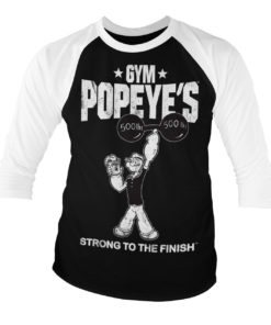 T-shirt manches 3/4 Popeye - Strong To The Finish de couleur Blanc/Noir