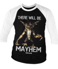 T-shirt manches 3/4 There Will Be Mayhem de couleur Blanc/Noir