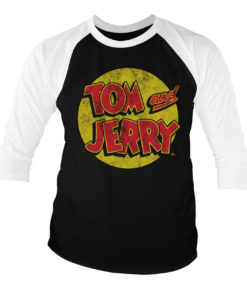 T-shirt manches 3/4 Tom & Jerry Washed Logo de couleur Blanc/Noir