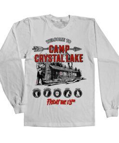 T-shirt manches longues Camp Crystal Lake de couleur Blanc