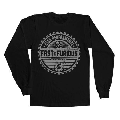 T-shirt manches longues Fast & The Furious Genuine Brand de couleur Noir