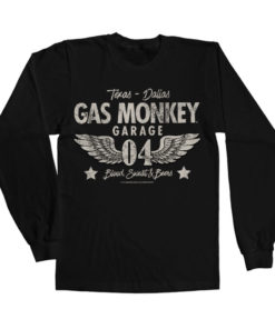 T-shirt manches longues Gas Monkey Garage 04-WINGS de couleur Noir