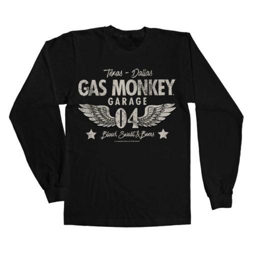 T-shirt manches longues Gas Monkey Garage 04-WINGS de couleur Noir