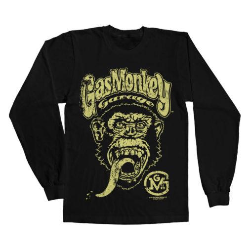 T-shirt manches longues Gas Monkey Garage Big Brand Logo de couleur Noir
