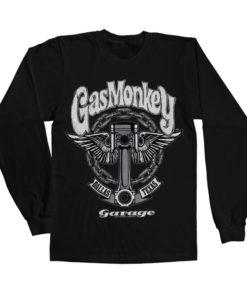 T-shirt manches longues Gas Monkey Garage Big Piston de couleur Noir