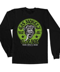 T-shirt manches longues Gas Monkey Garage - Green Logo de couleur Noir