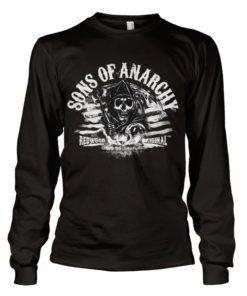 T-shirt manches longues SOA - B/W Flag Long Sleeve de couleur Noir