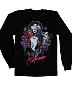 T-shirt manches longues Suicide Squad Harley Quinn de couleur Noir