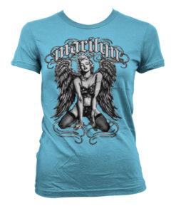 T-Shirt Marilyn Monroe - Cool Angel pour Femme de couleur Bleu Ciel