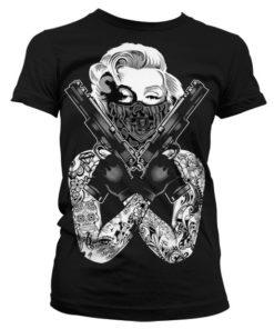 T-Shirt Marilyn Monroe Gangsta Pose pour Femme de couleur Noir
