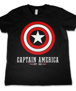 T-Shirt Marvel Comics - Captain America Logo  pour enfant de couleur Noir