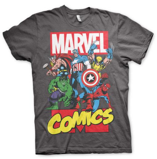 T-shirt Marvel Comics Heroes grandes Tailles de couleur Gris Foncé